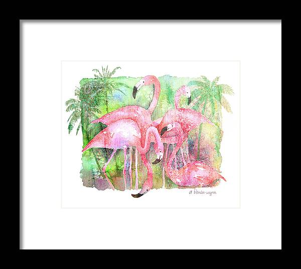 Flamingo Framed Print featuring the painting Flamingo Five by Arline Wagner