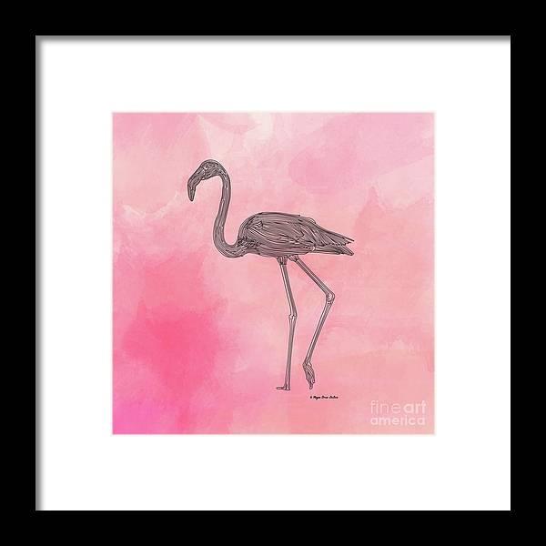 Bird Framed Print featuring the digital art Flamingo3 by Megan Dirsa-DuBois