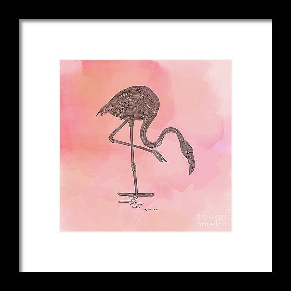 Bird Framed Print featuring the digital art Flamingo4 by Megan Dirsa-DuBois