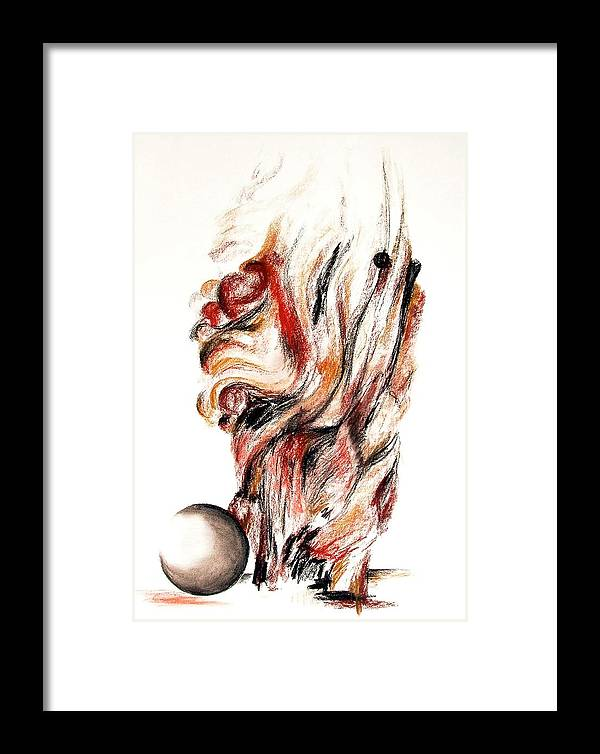 Still Life Framed Print featuring the drawing Flamme En Bois by Muriel Dolemieux