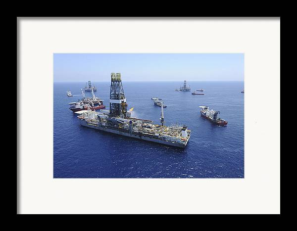 Drillship Framed Print featuring the photograph Flaring Operations Conducted by Stocktrek Images
