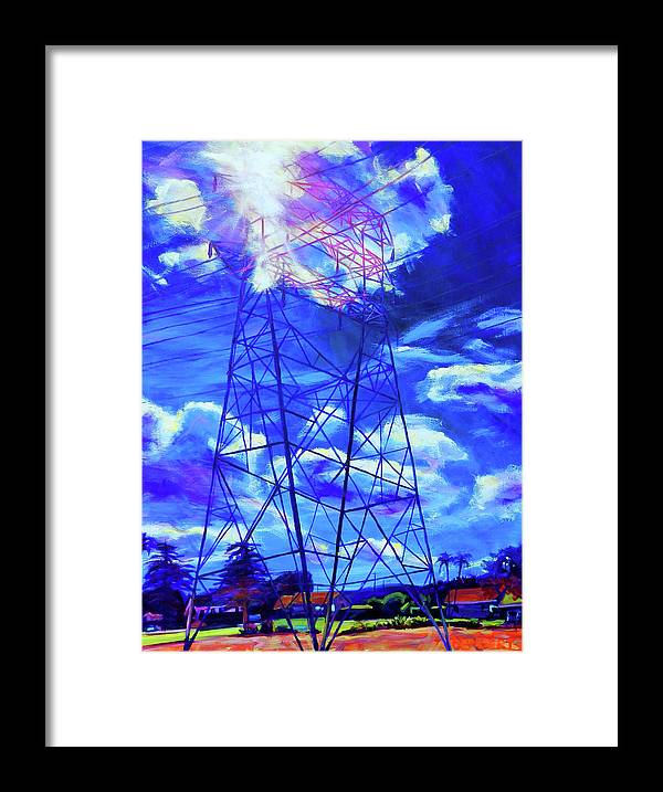 Power Tower Framed Print featuring the painting Flash by Bonnie Lambert