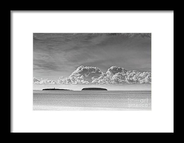 Flat Holm Framed Print featuring the photograph Flat Holm And Steep Holm Mono by Steve Purnell