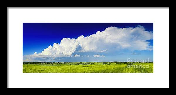 Agriculture Background Beautiful Blue Clear Cloud Clouds Cloudscape Colorful Country Countryside Day Environment Farm Farming Field Fresh Grass Grassland Green Grow Horizon Land Landscape Landscapes Lawn Meadow Natural Nature Open Outdoor Outside Paradise Park Pasture Plain Plant Rural Scene Scenic Season Sky Spring Summer Sun Sunlight Sunny Sunrise Vibrant Weather White Framed Print featuring the photograph Flat Open Grassland And Sky by Nino Rasic
