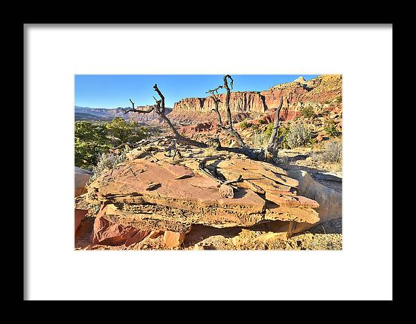 Capitol Reef National Park Framed Print featuring the photograph Flat Rock Along Scenic Drive by Ray Mathis