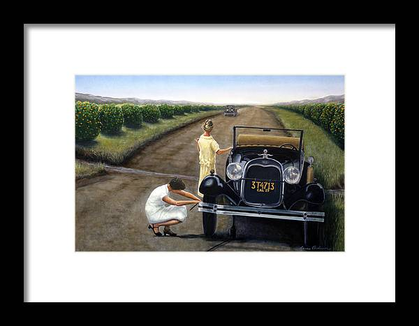 Orange Framed Print featuring the painting Flat Tire by Lance Anderson