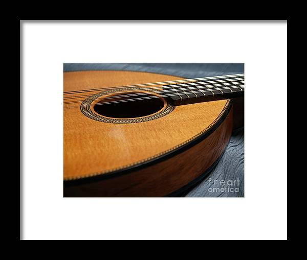 Mandolin Framed Print featuring the photograph Flatiron Mandolin On Blue by Anna Lisa Yoder