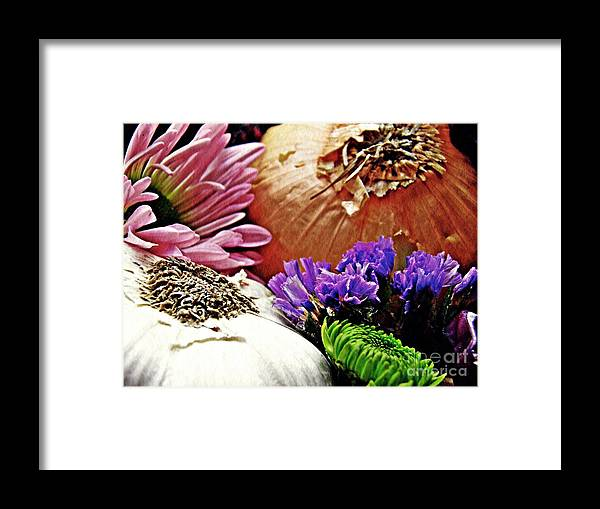 Garlic Framed Print featuring the photograph Flavored With Onion And Garlic by Sarah Loft