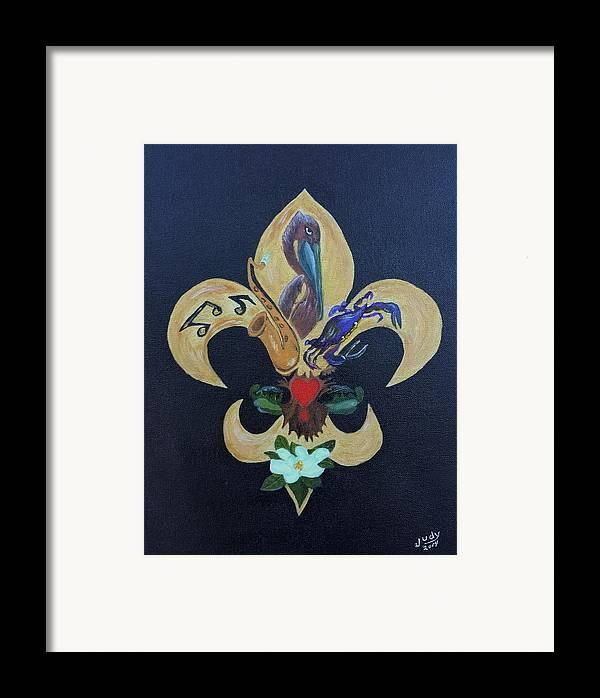 Fleur De Lis New Orleans Style Framed Print By Judy Jones