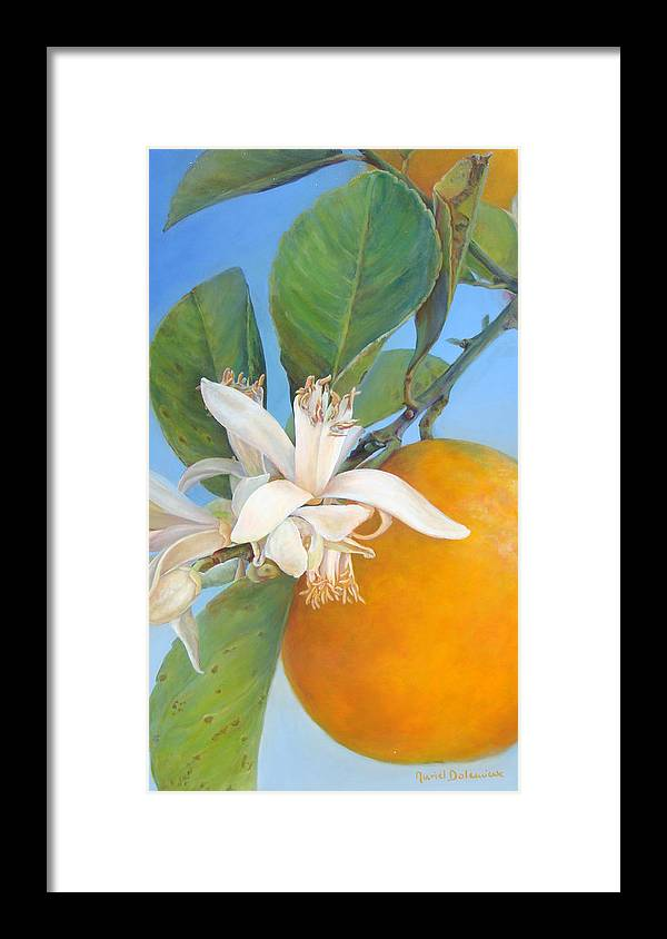 Floral Painting Framed Print featuring the painting Fleurs d oranges by Muriel Dolemieux