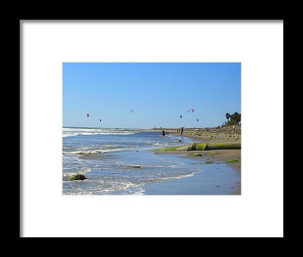 Beach Framed Print featuring the photograph Flies In The Sky by Robin Hernandez