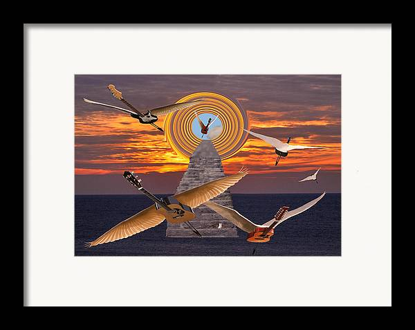 Flight Of The Guitars Framed Print featuring the mixed media Flight Of The Guitars by Eric Kempson