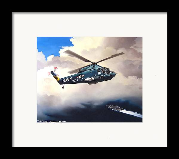 Military Framed Print featuring the painting Flight Of The Seasprite by Marc Stewart