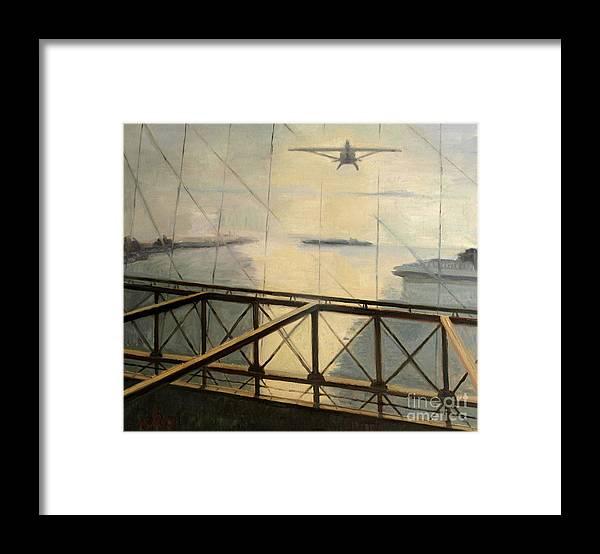 Darius Framed Print featuring the painting Flight by Raimonda Jatkeviciute-Kasparaviciene