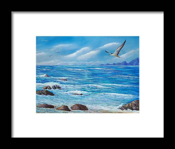 Seascape Framed Print featuring the painting Flight Seascape by Tony Rodriguez