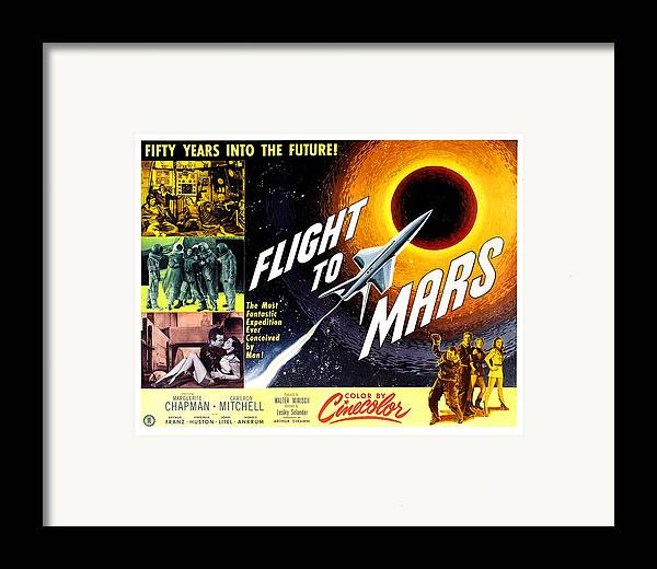1950s Poster Art Framed Print featuring the photograph Flight To Mars, 1951 by Everett