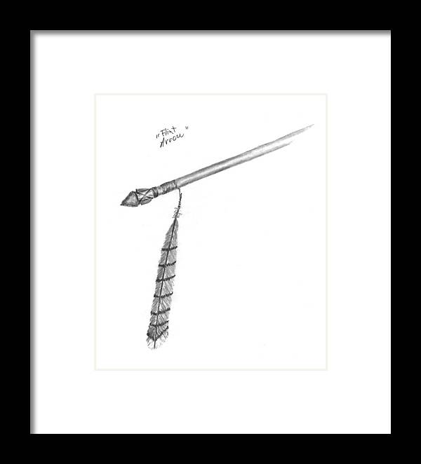 Framed Print featuring the drawing Flint Arrow by Kevin Callahan