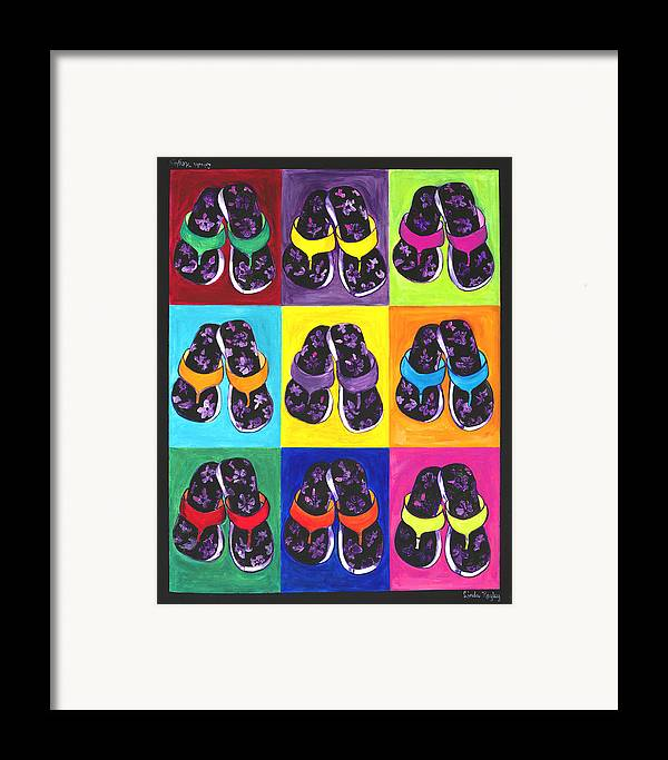 Flip Flops Framed Print featuring the painting Flip Flops After Andy Warhol by Linda Kegley