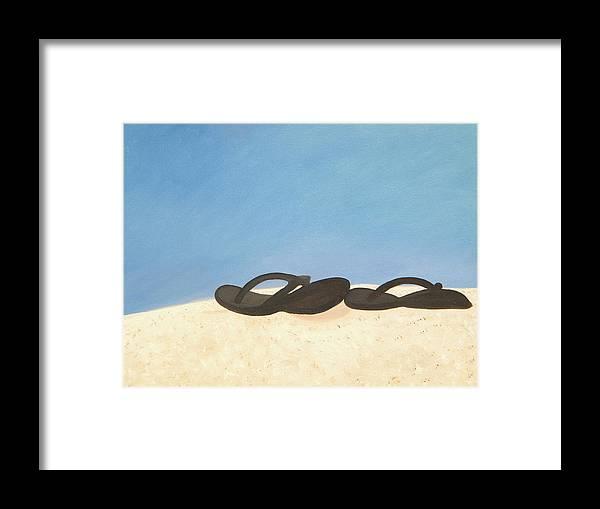 Beach Framed Print featuring the painting Flip Flops by Debra Bryan