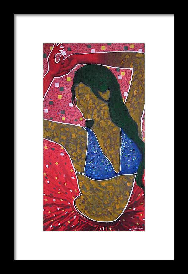 Female Framed Print featuring the painting Floating Fantancy 7 by Bharat Gothwal