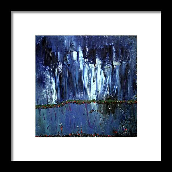 Blue Framed Print featuring the painting Floating Gardens by Pam Roth O'Mara