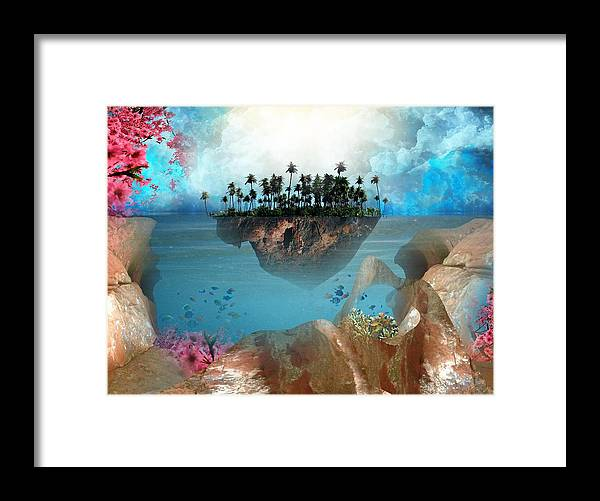 Island Tropical Palm Tree Cloud Pink Cherry Blossom Sandstone Fish Blue Peach Tan Digital Art Photoshop Haystack Rock Fantasy Floating Framed Print featuring the digital art Floating Island by Adrienne McMahon
