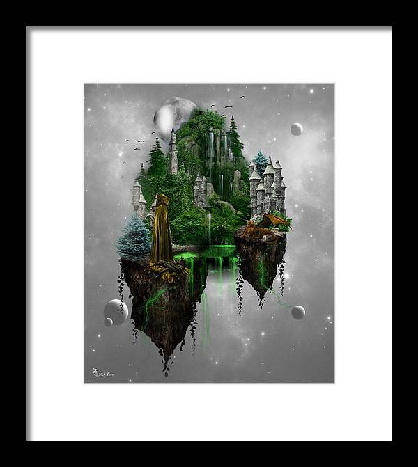 Ali Oppy Framed Print featuring the digital art Floating Kingdom by Ali Oppy