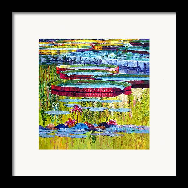 Lily Pond Framed Print featuring the painting Floating Parallel Universes by John Lautermilch