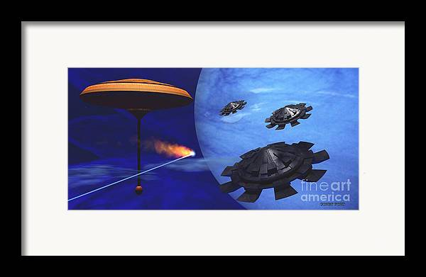 Meteor Framed Print featuring the painting Floating Space City by Corey Ford