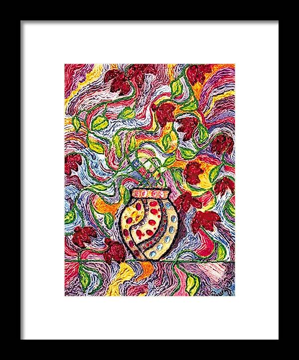 Flowers Framed Print featuring the painting Floowers In A Jeweled Vase by Brenda Adams