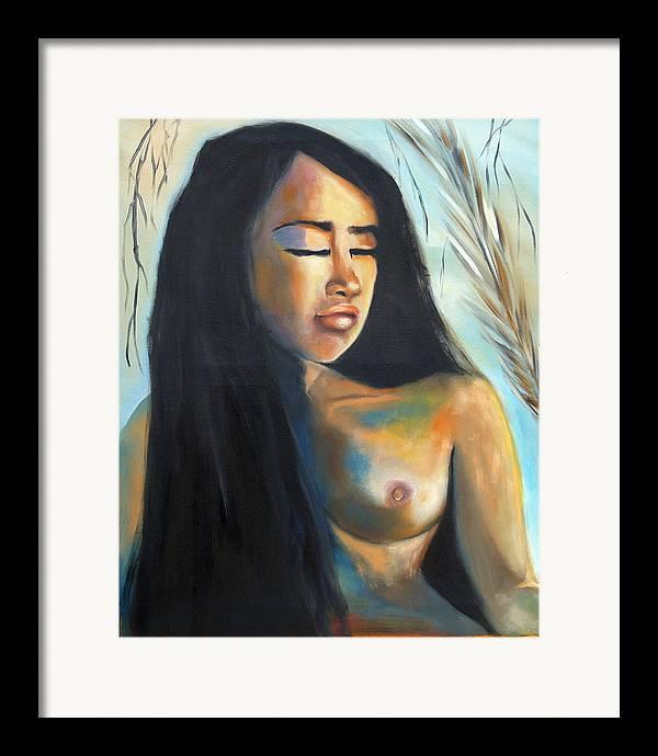 Nude Pan-asian Girl Woman Framed Print featuring the painting Flor De La Vida by Niki Sands