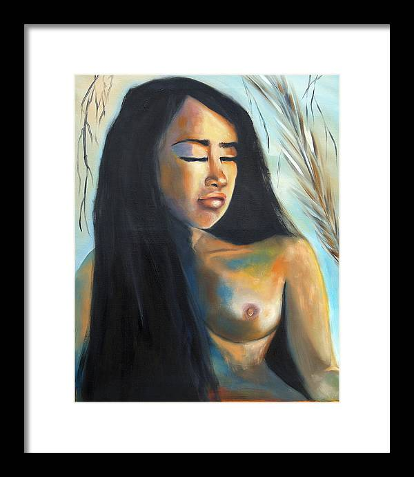 Nude Pan-asian Girl Woman Framed Print featuring the painting Flor De La Vida by Niki Sands