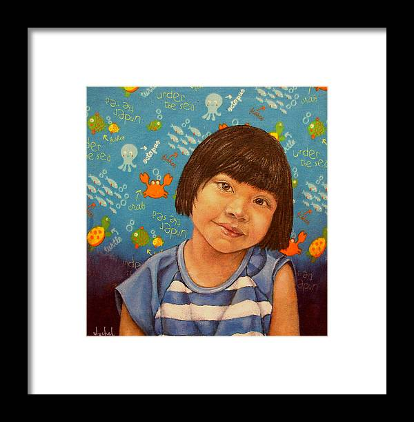 Girl Framed Print featuring the painting Flor by Ixchel Amor