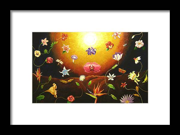 Framed Print featuring the painting Flor Nocturna by Paul Sierra