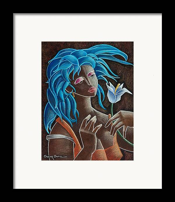 Puerto Rico Framed Print featuring the painting Flor Y Viento by Oscar Ortiz