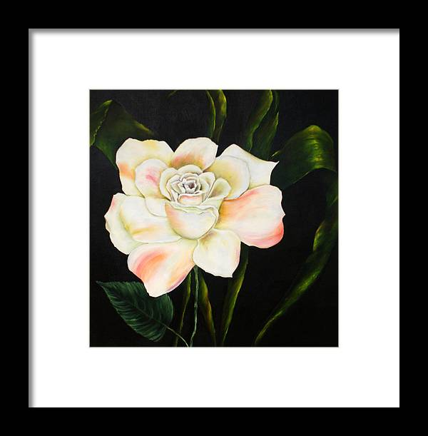 Floral Framed Print featuring the painting Flora Blanca 2 by Denise Lockhart Bush