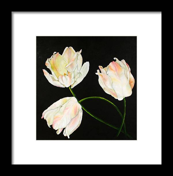 White Flowers Framed Print featuring the painting Flora Blanca 3 by Denise Lockhart Bush