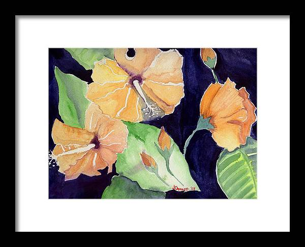 Orange Flowers Framed Print featuring the painting Floral Affair by Janet Doggett