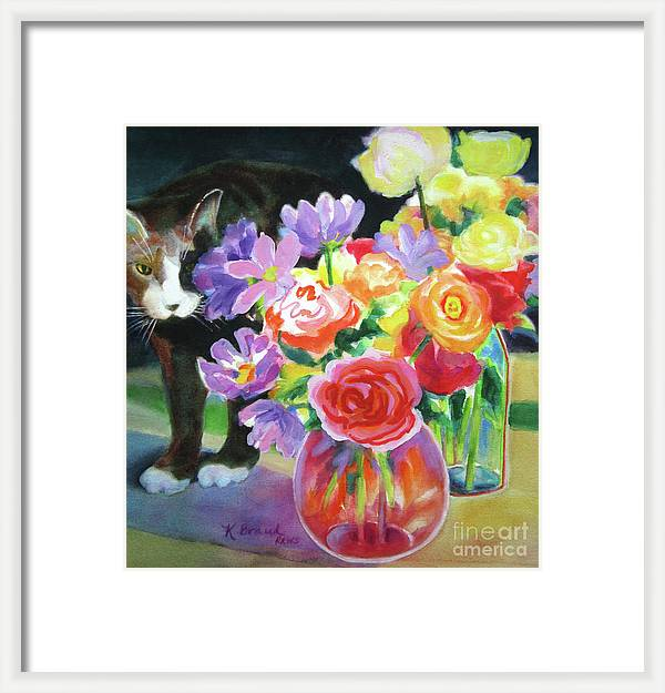 Floral Arrangement and Curious Cat by Kathy Braud