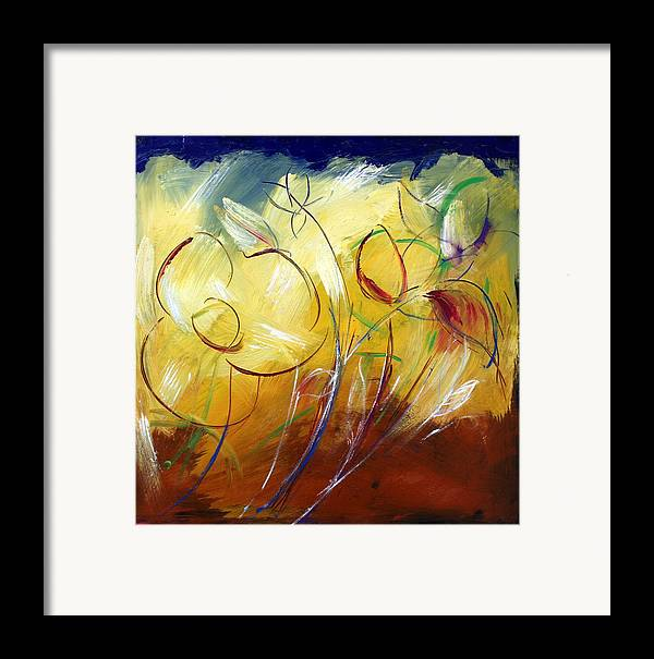 Contemporary Framed Print featuring the painting Floral Asbtract by Mario Zampedroni