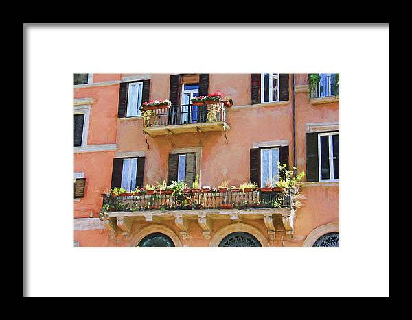 Street Framed Print featuring the photograph Floral Balcony by Denis Brien