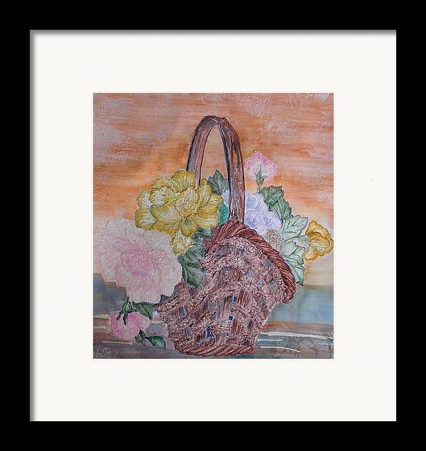Floral Framed Print featuring the painting Floral Basket by John Vandebrooke
