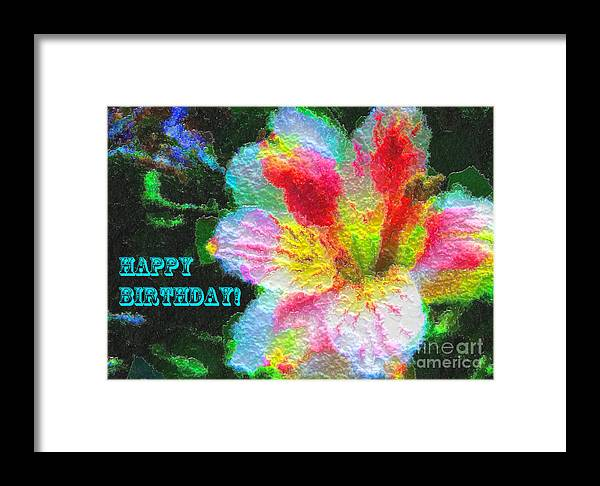 Photograph Framed Print featuring the photograph Floral Birthday Card by Anna Sheradon
