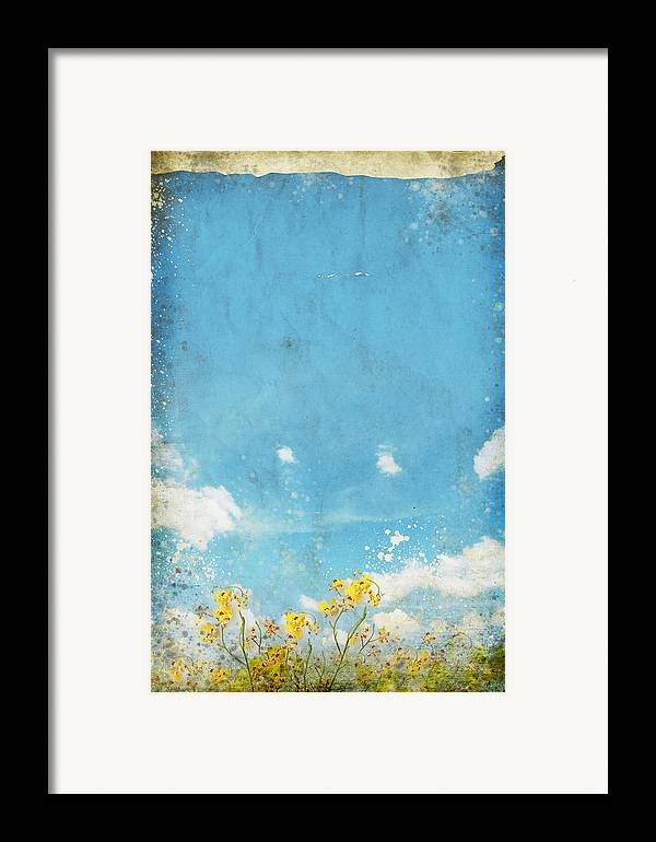 Abstract Framed Print featuring the painting Floral In Blue Sky And Cloud by Setsiri Silapasuwanchai