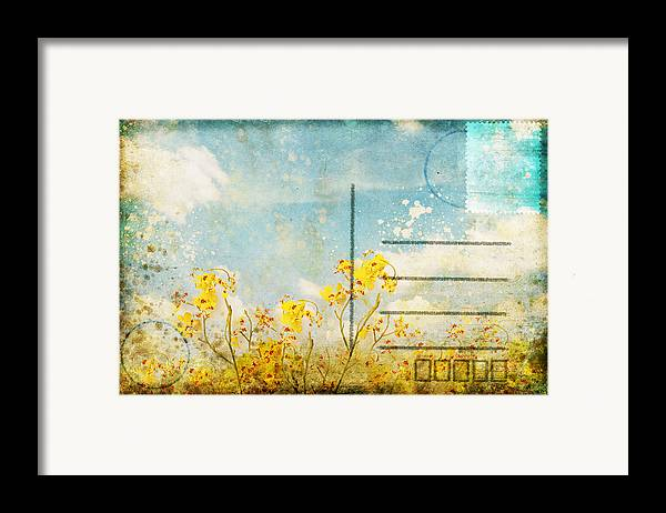 Address Framed Print featuring the photograph Floral In Blue Sky Postcard by Setsiri Silapasuwanchai