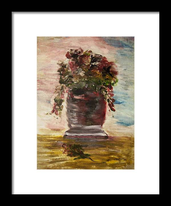Vase With Flowers Framed Print featuring the painting Floral In My View by Edward Wolverton
