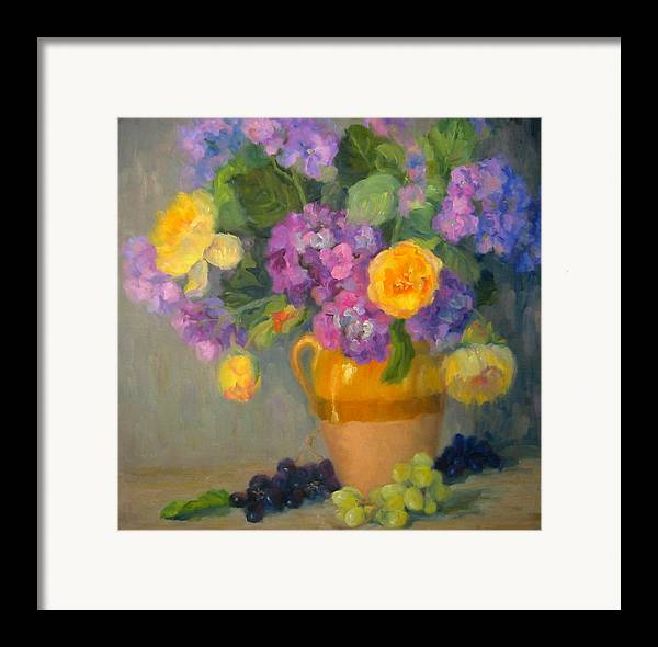 Still Life Framed Print featuring the painting Floral Melody by Bunny Oliver