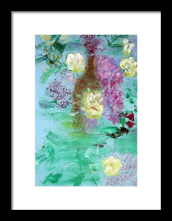 Abstract Framed Print featuring the painting Floral Reflections by Michela Akers