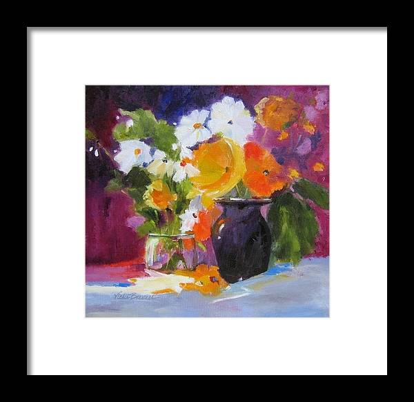 Still Life Framed Print featuring the painting Floral Still Life by Vicki Brevell