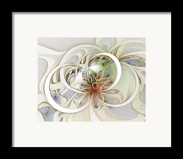 Digital Art Framed Print featuring the digital art Floral Swirls by Amanda Moore